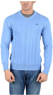 Reveller Striped V-neck Casual Men's Light Blue Sweater