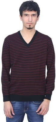 Romano Solid V-neck Casual Men's Red Sweater
