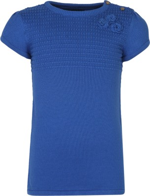 Bells and Whistles Solid Round Neck Casual Girl's Blue Sweater