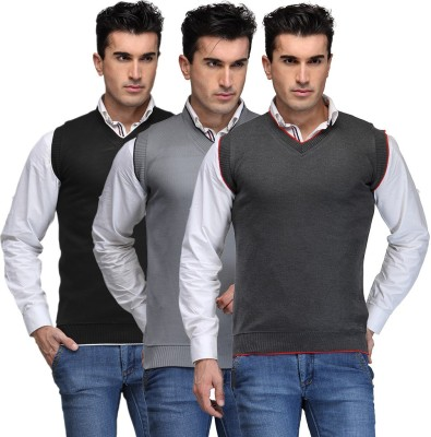 TSX Solid V-neck Casual, Party, Formal Men's Black, Grey, Grey Sweater
