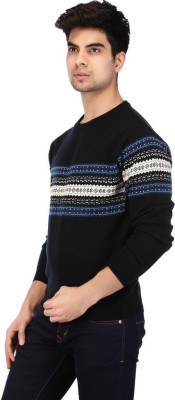 ACROPOLIS by Shoppers Stop Self Design Round Neck Casual Men's Blue Sweater