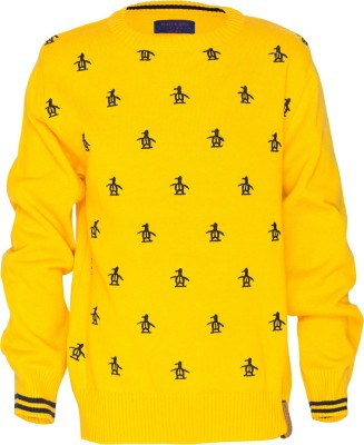 Status Quo Cubs Solid Round Neck Casual Boy's Yellow Sweater