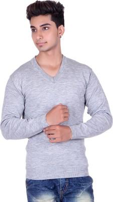 Pierre Carlo Solid V-neck Casual Men's Grey Sweater