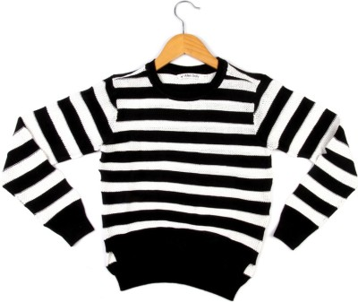 Allen Solly Striped Round Neck Girl's Black Sweater