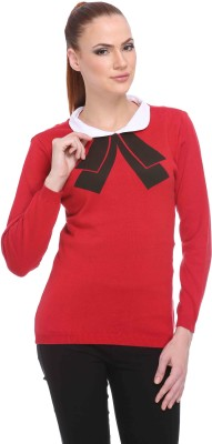 CLUB YORK Solid Round Neck Casual Women's Red Sweater