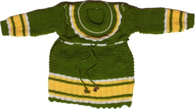 Janvi Collections Solid Round Neck Party Girl,s Green Sweater