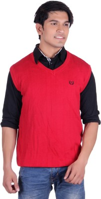 Ogarti Solid V-neck Casual, Party, Festive Men,s Red Sweater