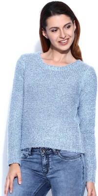 Mast & Harbour Self Design Round Neck Casual Women,s Blue Sweater