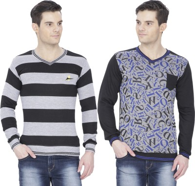 Alay Solid, Striped V-neck Casual, Party, Formal, Sports, Lounge Wear, Festive Men's Black, Grey Sweater