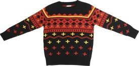 Crazeis Printed Round Neck Casual Boys Black Sweater