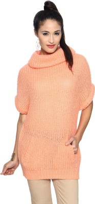 Allen Solly Woven Turtle Neck Casual Women's Pink Sweater