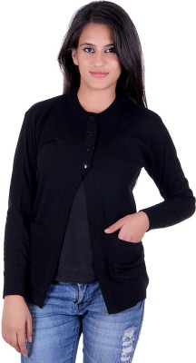 eCools Solid Round Neck Party Women's Black Sweater