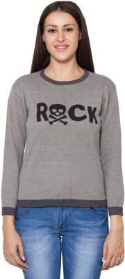 Lee Marc Solid Round Neck Women's Grey Sweater