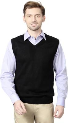 Peter England Self Design V-neck Men's Black Sweater