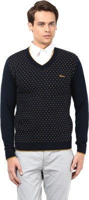 Okane Solid V-neck Men's Dark Blue Sweater