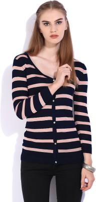 Lee Striped Casual Women Dark Blue, Orange Sweater