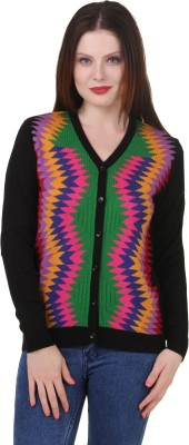 Spink Geometric Print V-neck Casual Women's Multicolor Sweater