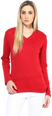 Tshirt Company Solid V-neck Casual Women's Red Sweater
