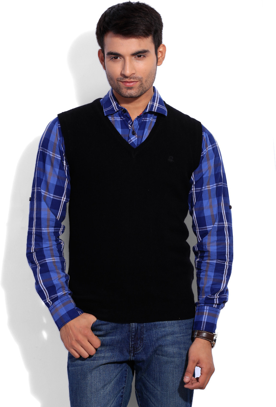 United Colors of Benetton Solid Casual Men Black Sweater