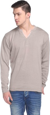 CLUB YORK Solid V-neck Casual Men's Beige Sweater