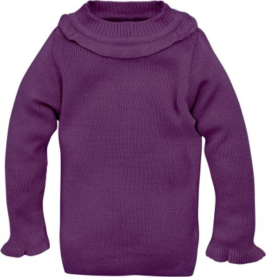 RVK Solid Round Neck Casual Girl's Purple Sweater