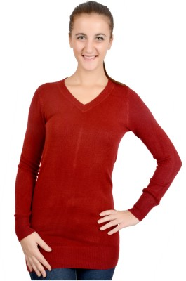 GnC Solid V-neck Casual, Festive, Party, Wedding Women's Maroon Sweater
