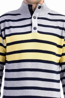 CLUB AVIS USA Striped Turtle Neck Casual Men's Yellow Sweater