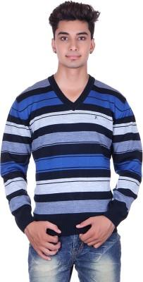 Pierre Carlo Solid, Striped V-neck Casual Men's Dark Blue Sweater