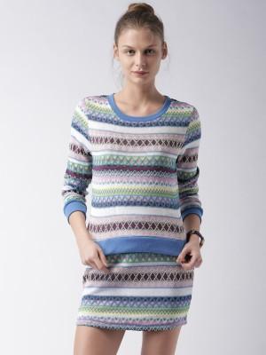 Mast & Harbour Self Design Round Neck Casual Women,s Multicolor Sweater