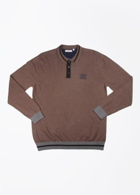 John Players Solid Casual Men's Brown Sweater