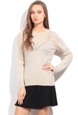 Arrow Self Design Round Neck Casual Women's Beige Sweater