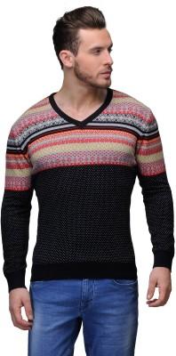 Tailor Craft Printed V-neck Casual Men's Black, Multicolor Sweater