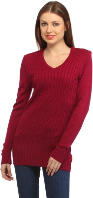 Stylistry Striped V-neck Casual Women's Red Sweater
