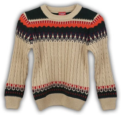 Lilliput Self Design Round Neck Casual Boy's Beige Sweater