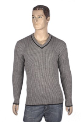 Nolex Striped V-neck Casual Men's Grey, Blue Sweater