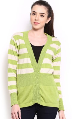 HRX by Hrithik Roshan Striped V-neck Casual Women,s Green Sweater