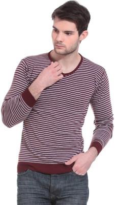 Claude 9 Striped Crew Neck Casual Men's Maroon Sweater