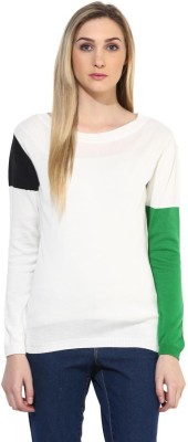 Tshirt Company Solid Round Neck Casual Women's White, Green, Black Sweater