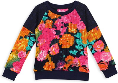Barbie Floral Print Round Neck Casual Girl's Blue Sweater