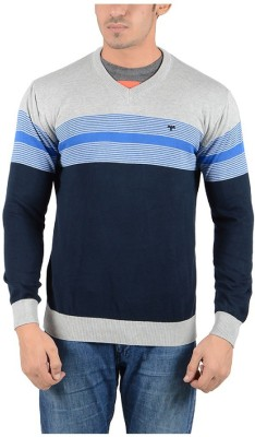 Reveller Striped V-neck Casual Men's Grey Sweater