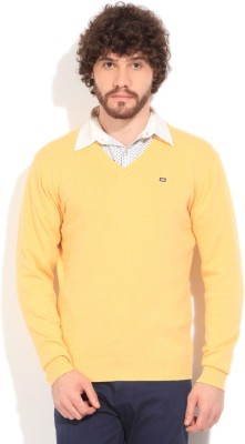 Arrow Sports Solid V-neck Casual Men's Yellow Sweater