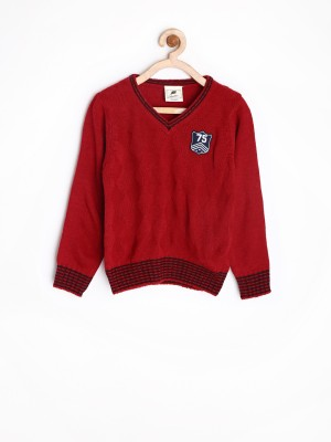 Yellow Kite Solid V-neck Casual Boy's Red Sweater