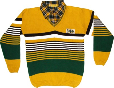 Frolic Striped V-neck Casual Boys Gold Sweater