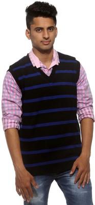 Sports 52 Wear Striped V-neck Casual Men's Reversible Black, Blue Sweater