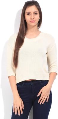 Lee Self Design Round Neck Casual Women's White Sweater