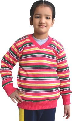 Shaun Striped V-neck Casual Girl's Multicolor Sweater