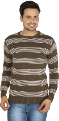 Fizzaro Striped Round Neck Casual Men's Brown, White Sweater