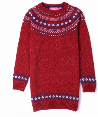 London Fog Solid Round Neck Casual Girl's Red Sweater
