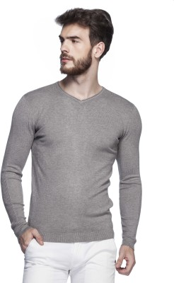 Tinted Solid V-neck Men's Grey Sweater