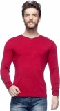 Tinted Solid Round Neck Formal Men Red S...